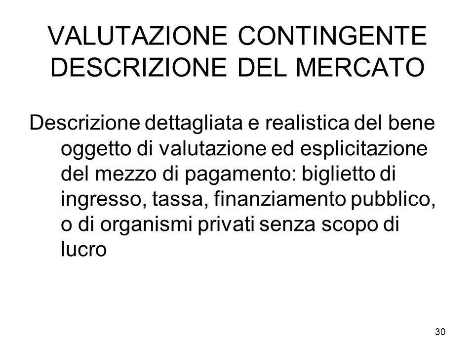 VALUTAZIONE CONTINGENTE DESCRIZIONE DEL MERCATO