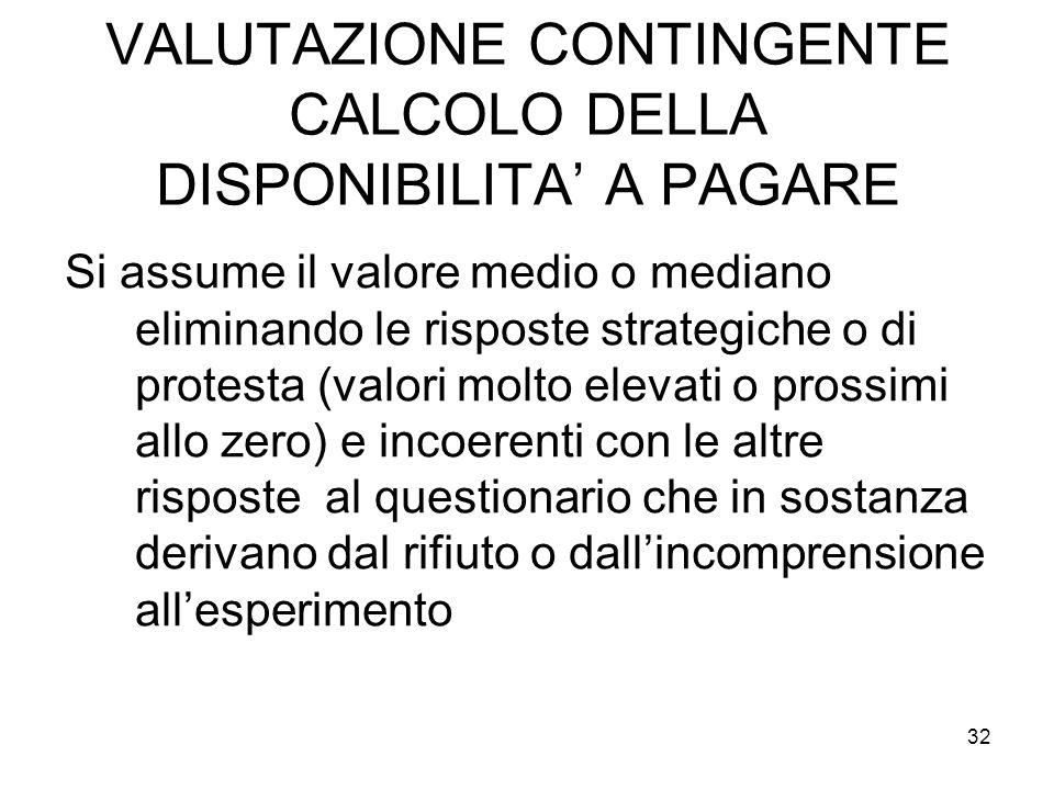 VALUTAZIONE CONTINGENTE CALCOLO DELLA DISPONIBILITA' A PAGARE