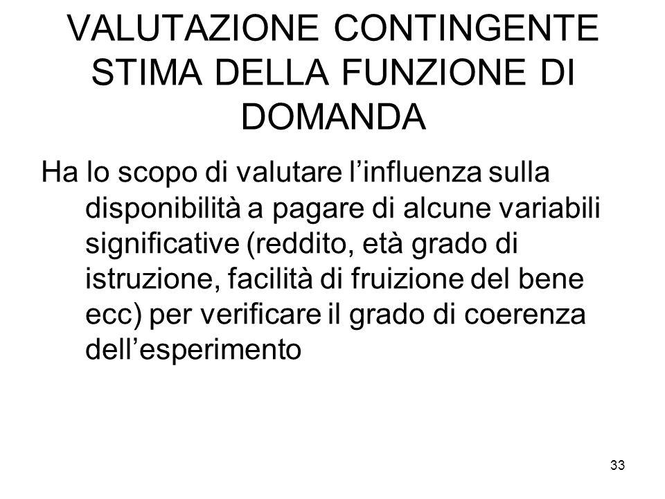 VALUTAZIONE CONTINGENTE STIMA DELLA FUNZIONE DI DOMANDA