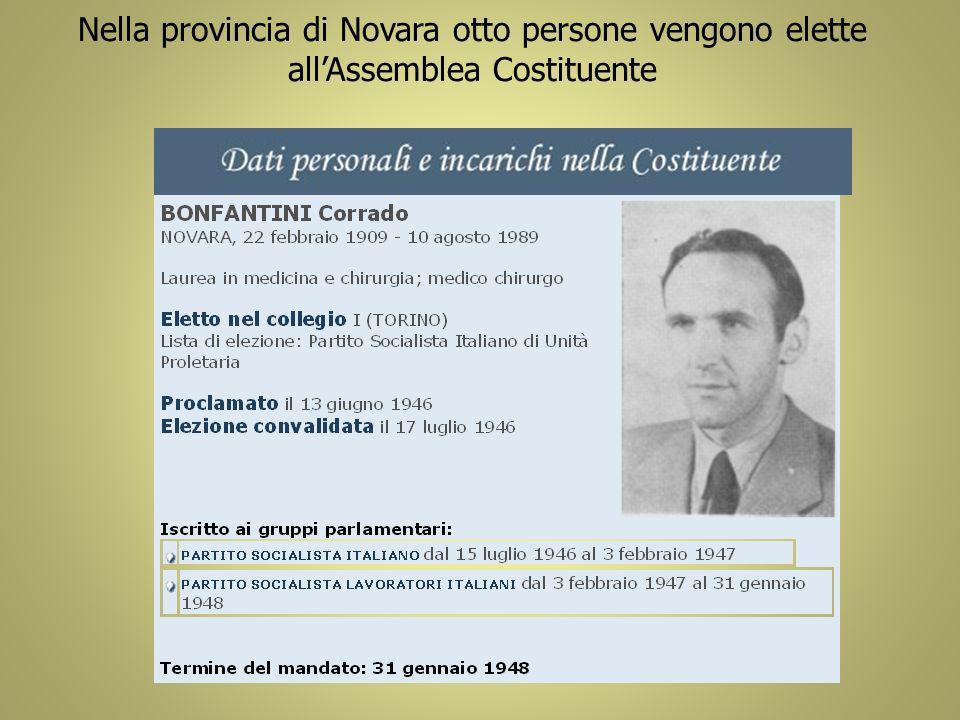 Nella provincia di Novara otto persone vengono elette all'Assemblea Costituente