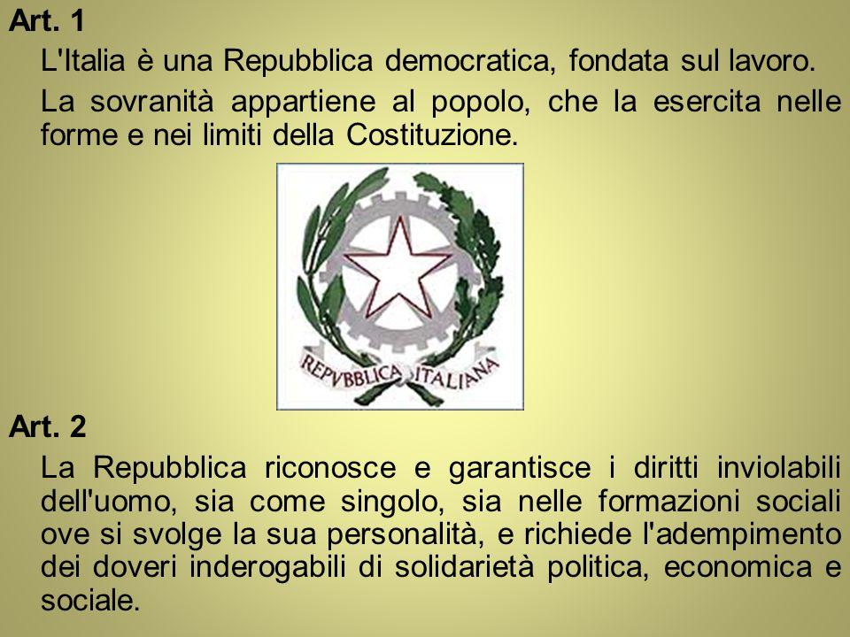 Art. 1 L Italia è una Repubblica democratica, fondata sul lavoro