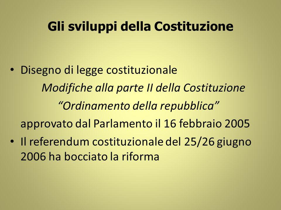 Gli sviluppi della Costituzione