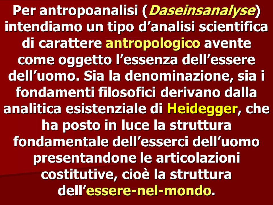 Per antropoanalisi (Daseinsanalyse) intendiamo un tipo d'analisi scientifica di carattere antropologico avente come oggetto l'essenza dell'essere dell'uomo.