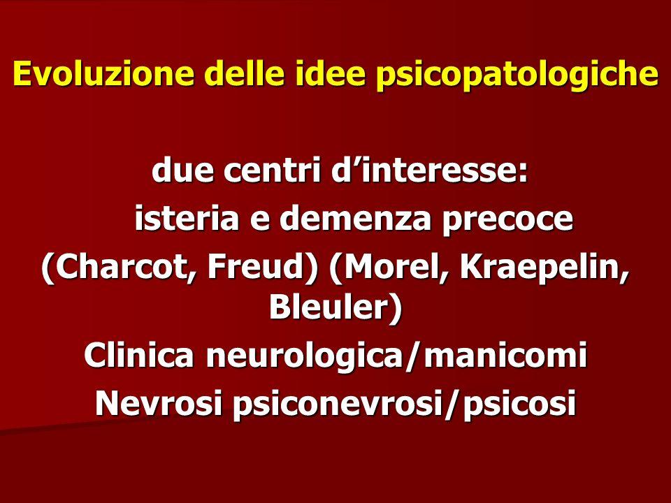 Evoluzione delle idee psicopatologiche due centri d'interesse: