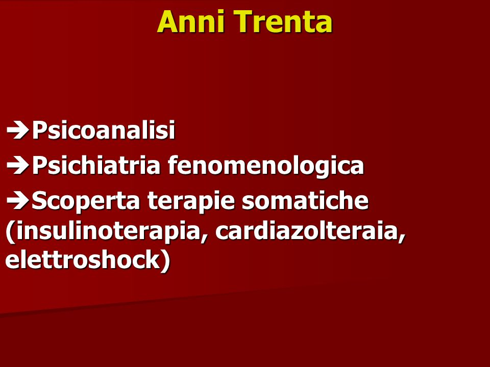Anni Trenta Psicoanalisi Psichiatria fenomenologica