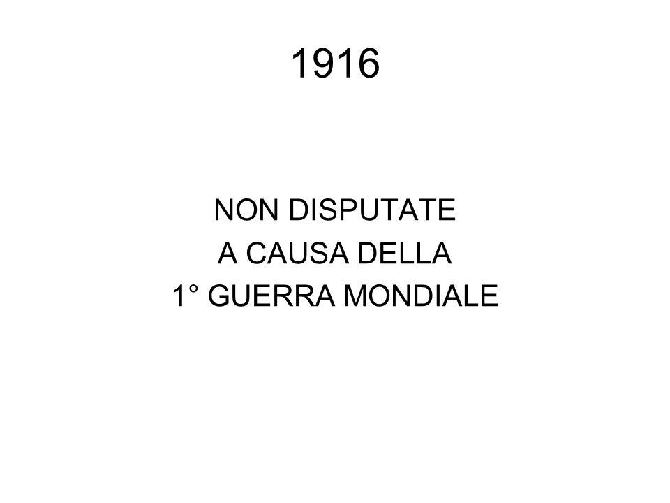 1916 NON DISPUTATE A CAUSA DELLA 1° GUERRA MONDIALE