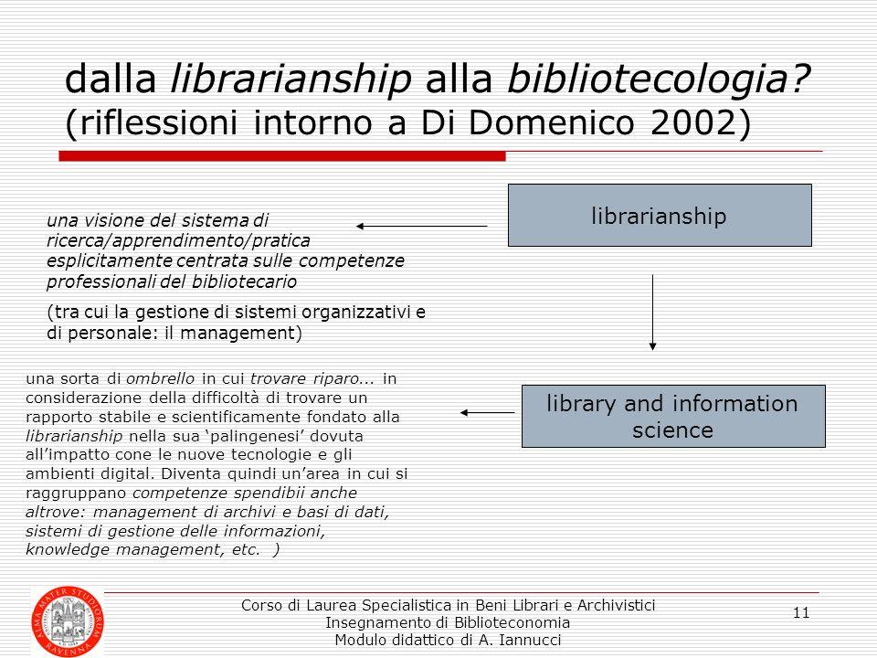 dalla librarianship alla bibliotecologia