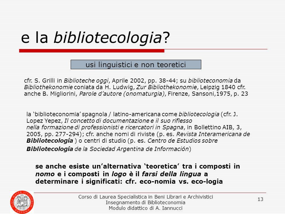 e la bibliotecologia usi linguistici e non teoretici
