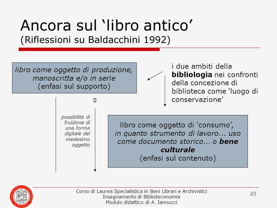 Ancora sul 'libro antico' (Riflessioni su Baldacchini 1992)