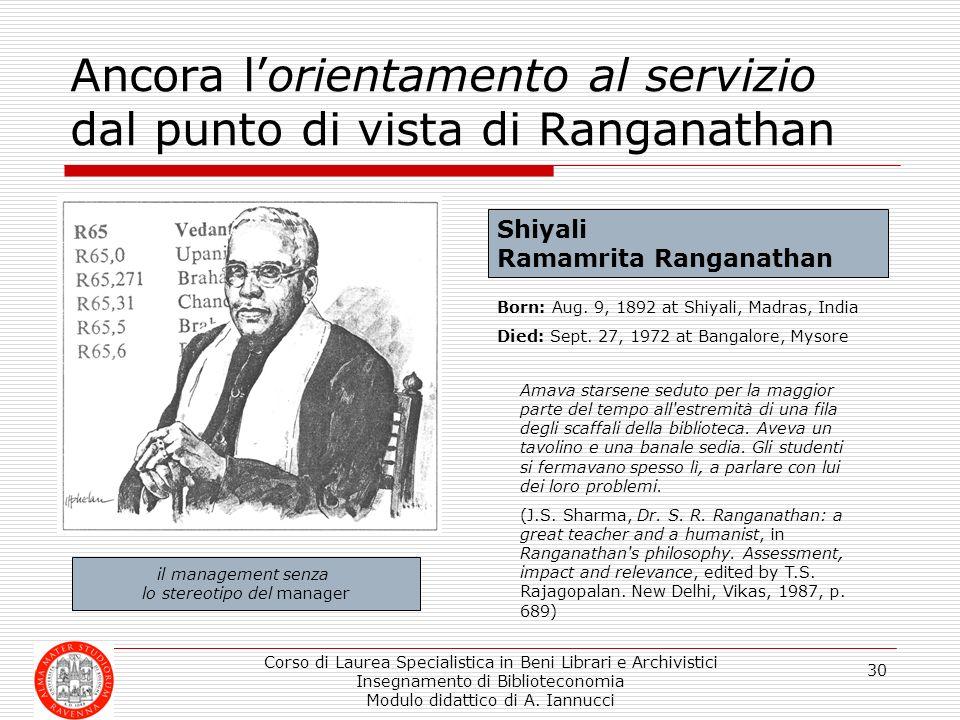Ancora l'orientamento al servizio dal punto di vista di Ranganathan