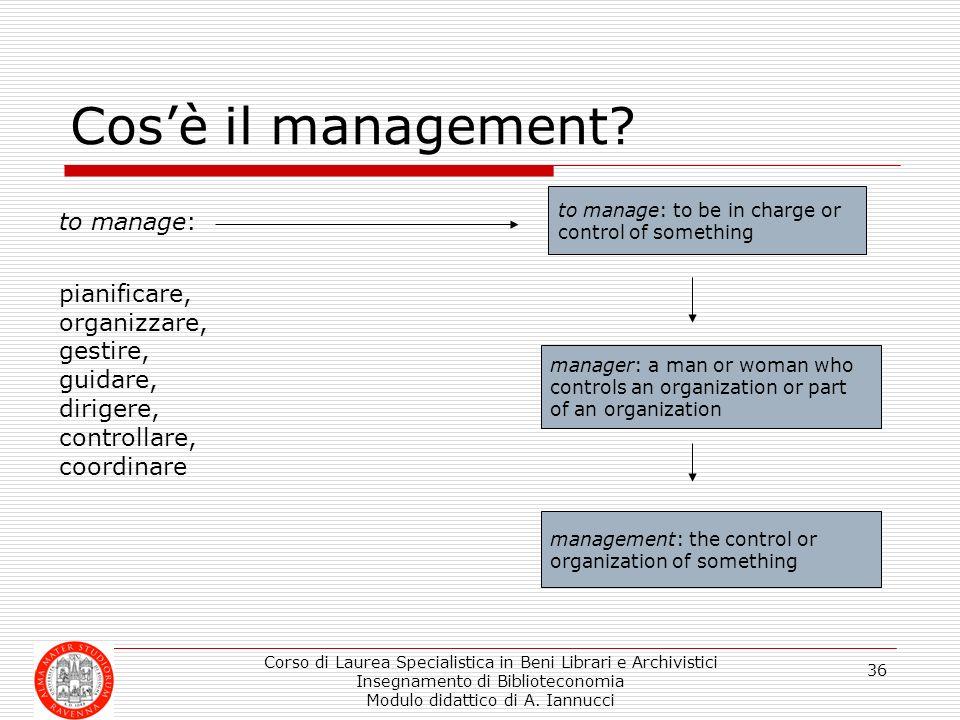 Cos'è il management to manage: pianificare, organizzare, gestire,