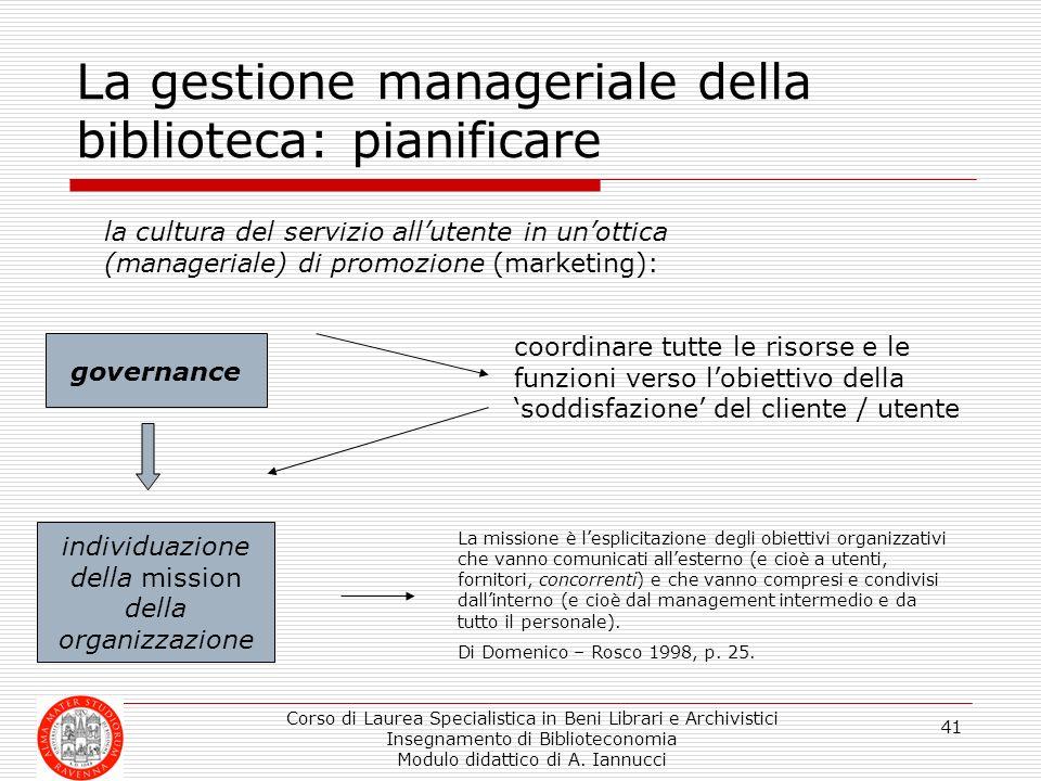 La gestione manageriale della biblioteca: pianificare