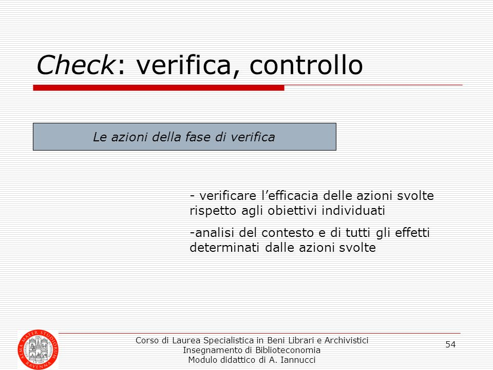 Check: verifica, controllo