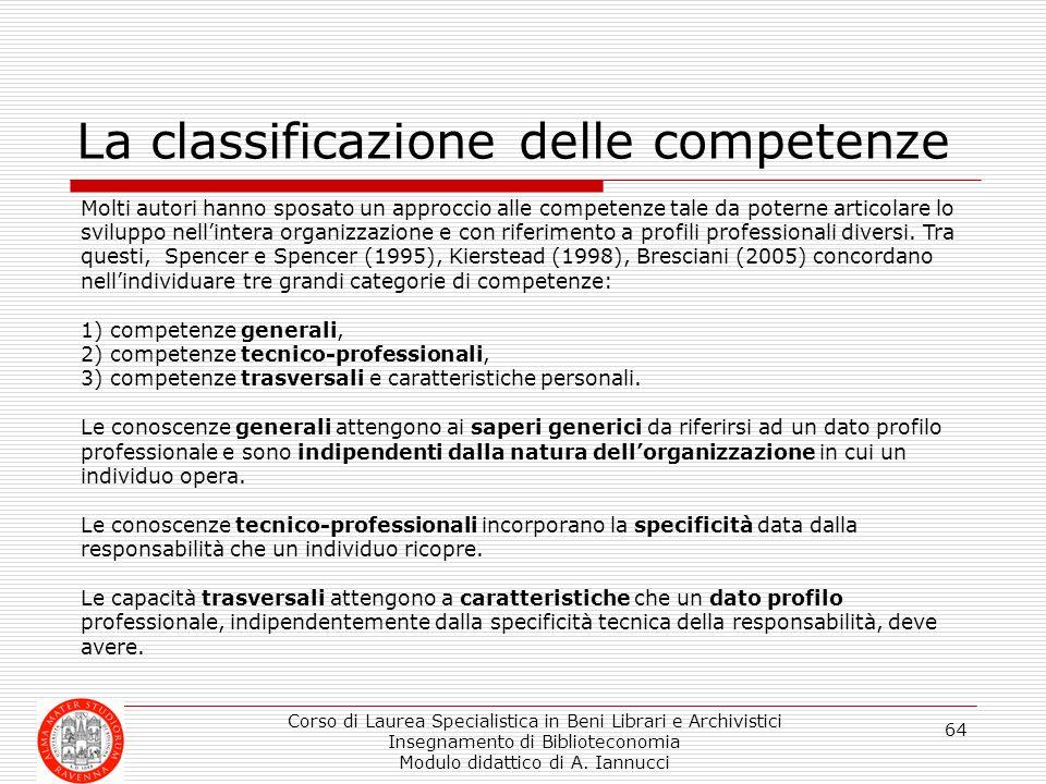 La classificazione delle competenze