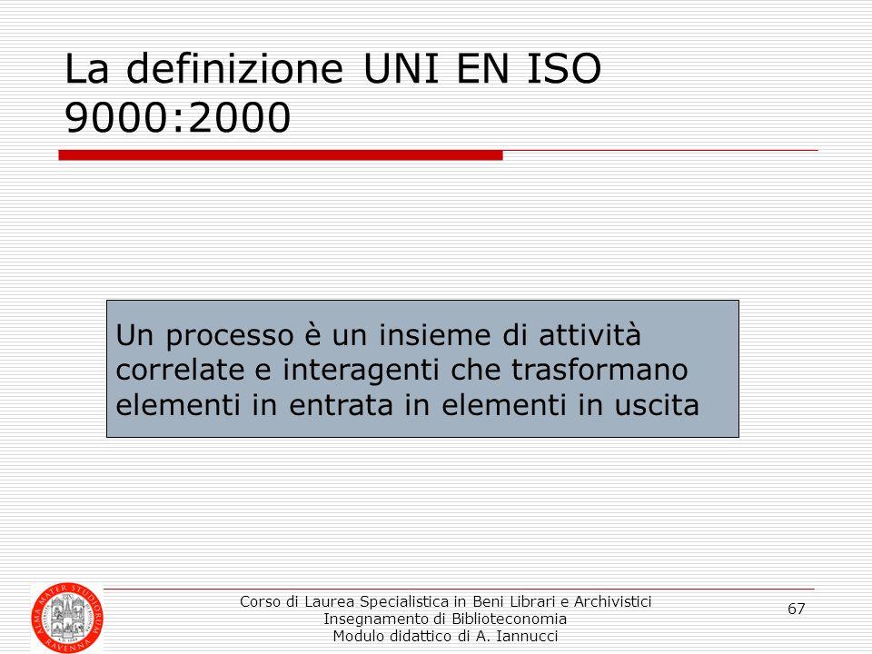 La definizione UNI EN ISO 9000:2000