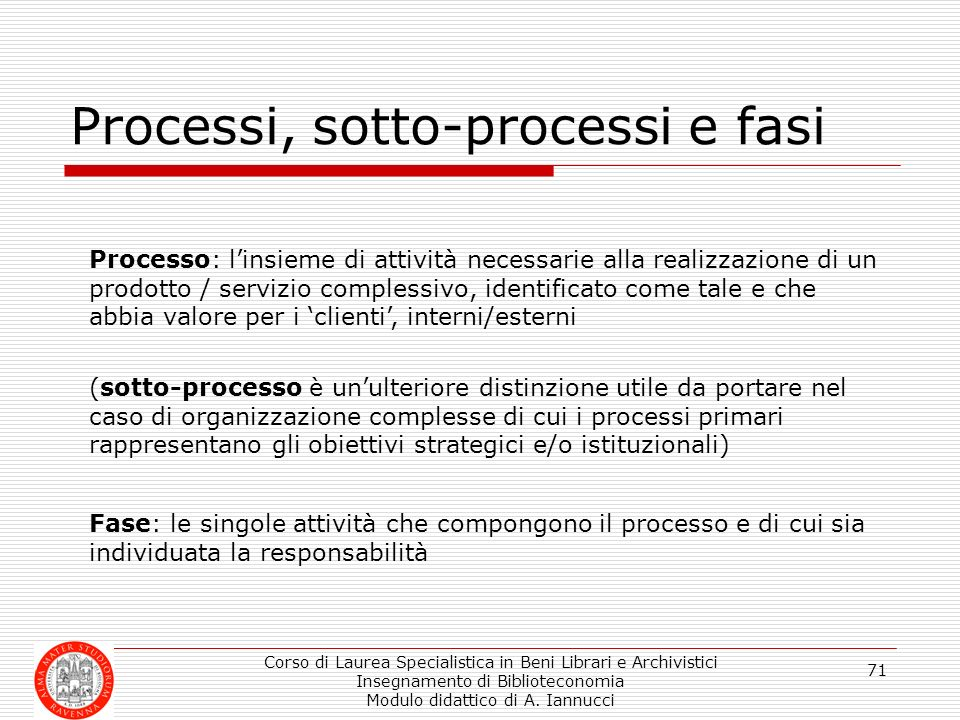 Processi, sotto-processi e fasi