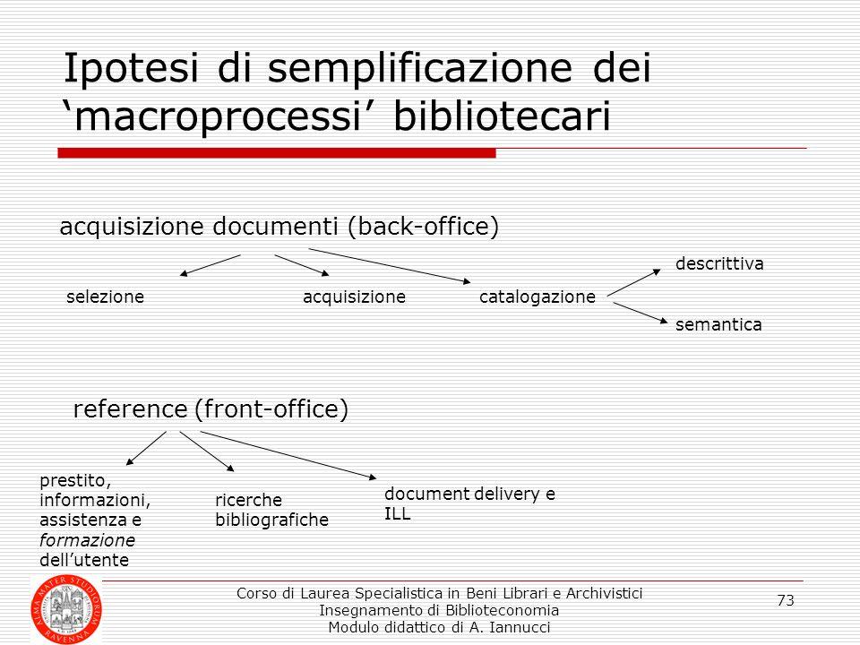 Ipotesi di semplificazione dei 'macroprocessi' bibliotecari