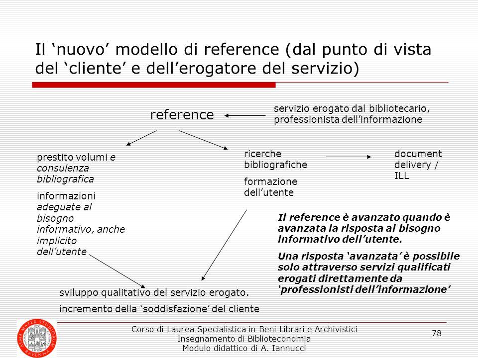 Il 'nuovo' modello di reference (dal punto di vista del 'cliente' e dell'erogatore del servizio)
