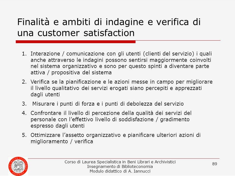 Finalità e ambiti di indagine e verifica di una customer satisfaction