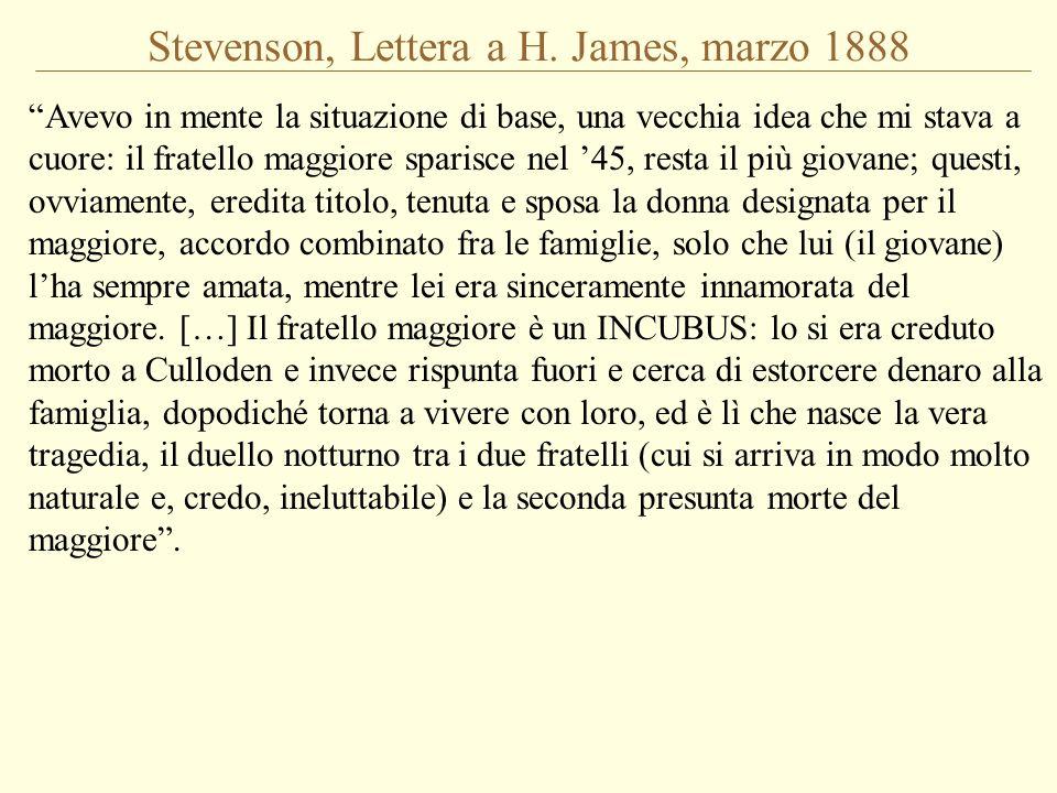 Stevenson, Lettera a H. James, marzo 1888