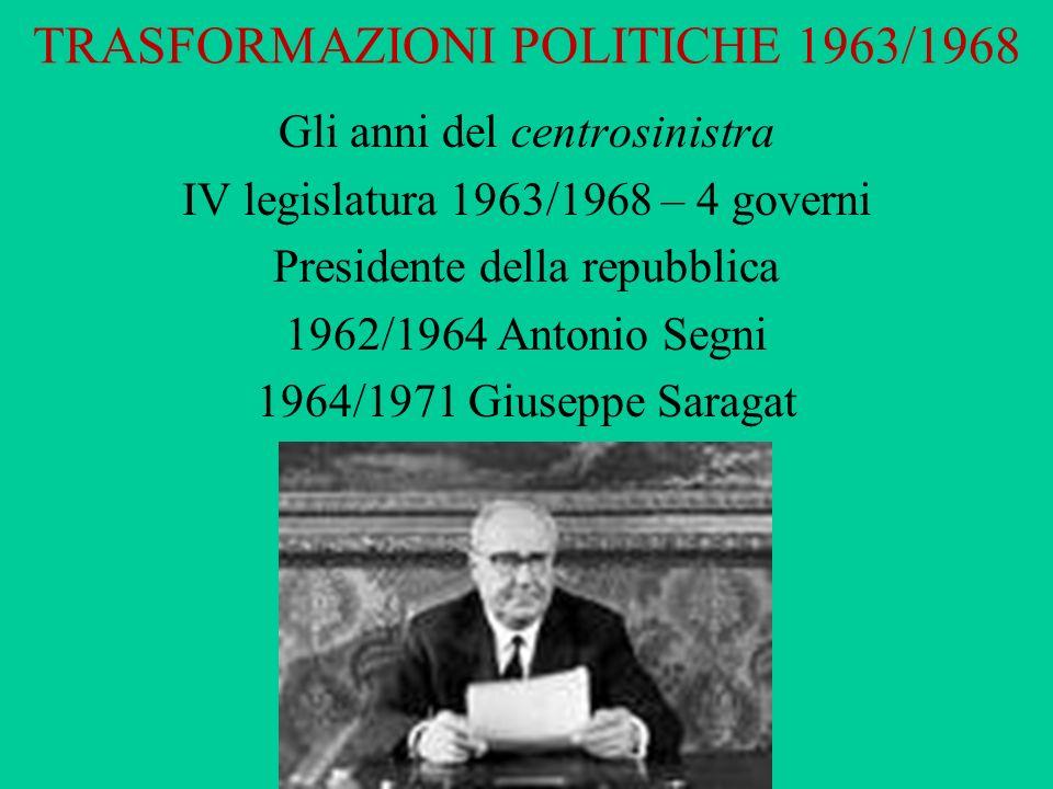 TRASFORMAZIONI POLITICHE 1963/1968