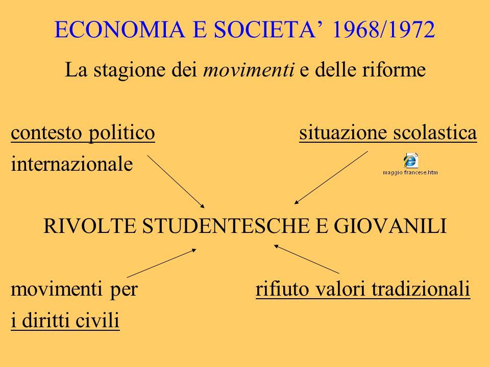 ECONOMIA E SOCIETA' 1968/1972 La stagione dei movimenti e delle riforme. contesto politico situazione scolastica.