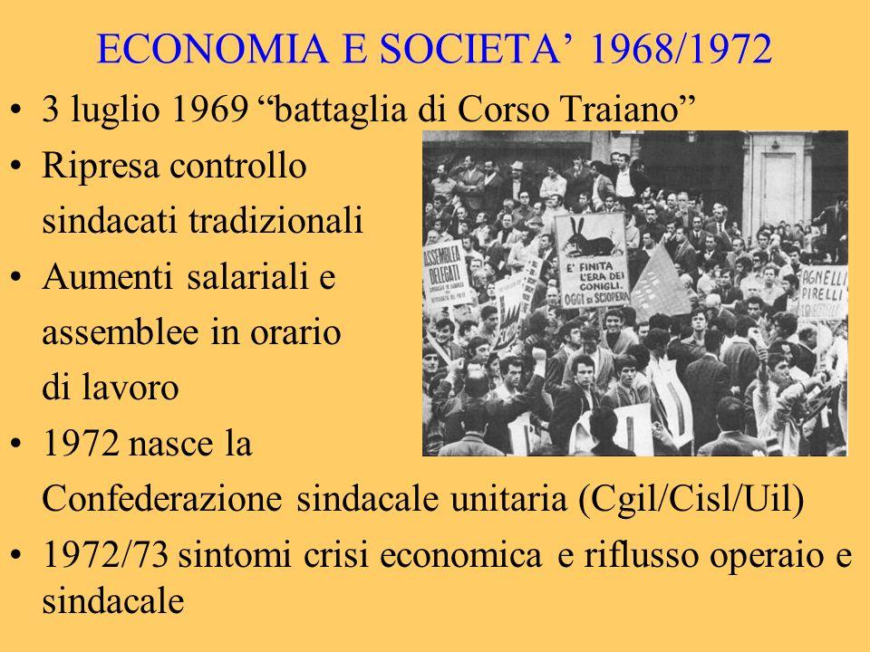 ECONOMIA E SOCIETA' 1968/1972 3 luglio 1969 battaglia di Corso Traiano Ripresa controllo. sindacati tradizionali.