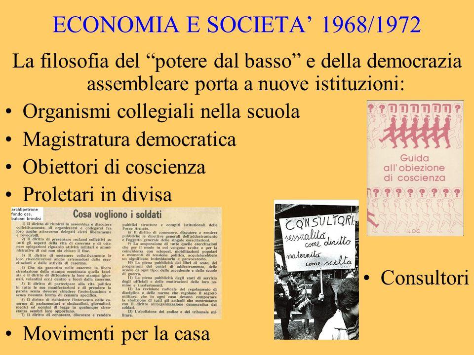 ECONOMIA E SOCIETA' 1968/1972 La filosofia del potere dal basso e della democrazia assembleare porta a nuove istituzioni: