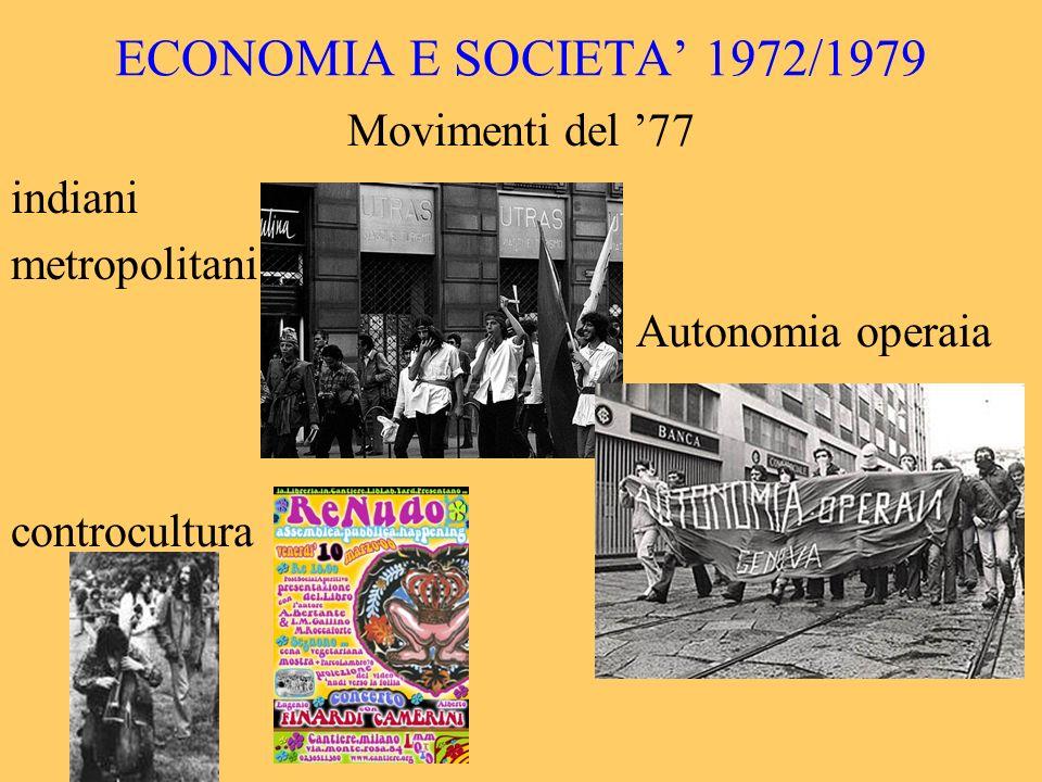 ECONOMIA E SOCIETA' 1972/1979 Movimenti del '77 indiani metropolitani