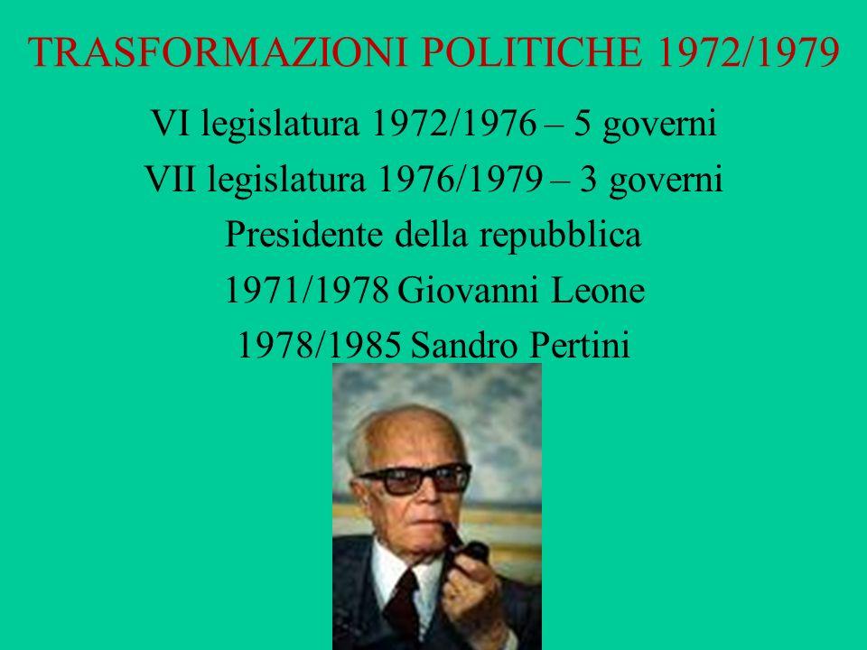 TRASFORMAZIONI POLITICHE 1972/1979