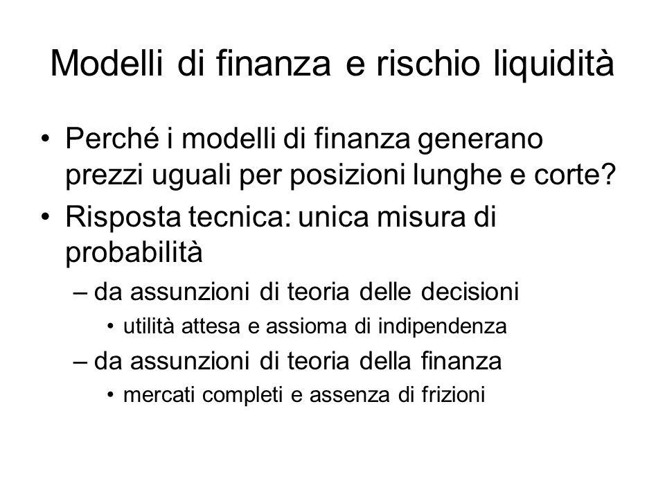 Modelli di finanza e rischio liquidità