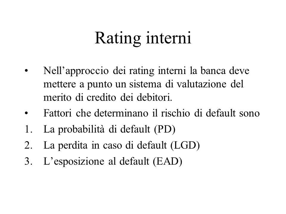 Rating interni Nell'approccio dei rating interni la banca deve mettere a punto un sistema di valutazione del merito di credito dei debitori.