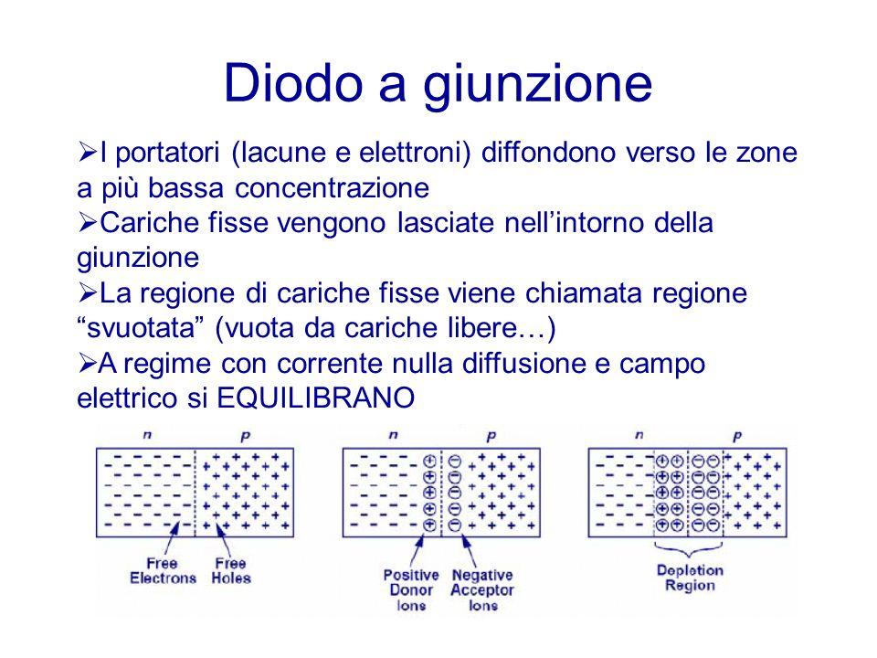 Diodo a giunzione I portatori (lacune e elettroni) diffondono verso le zone a più bassa concentrazione.