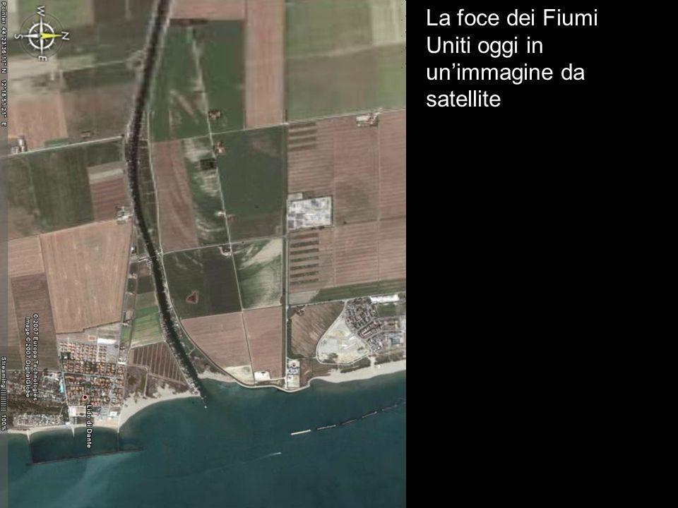La foce dei Fiumi Uniti oggi in un'immagine da satellite