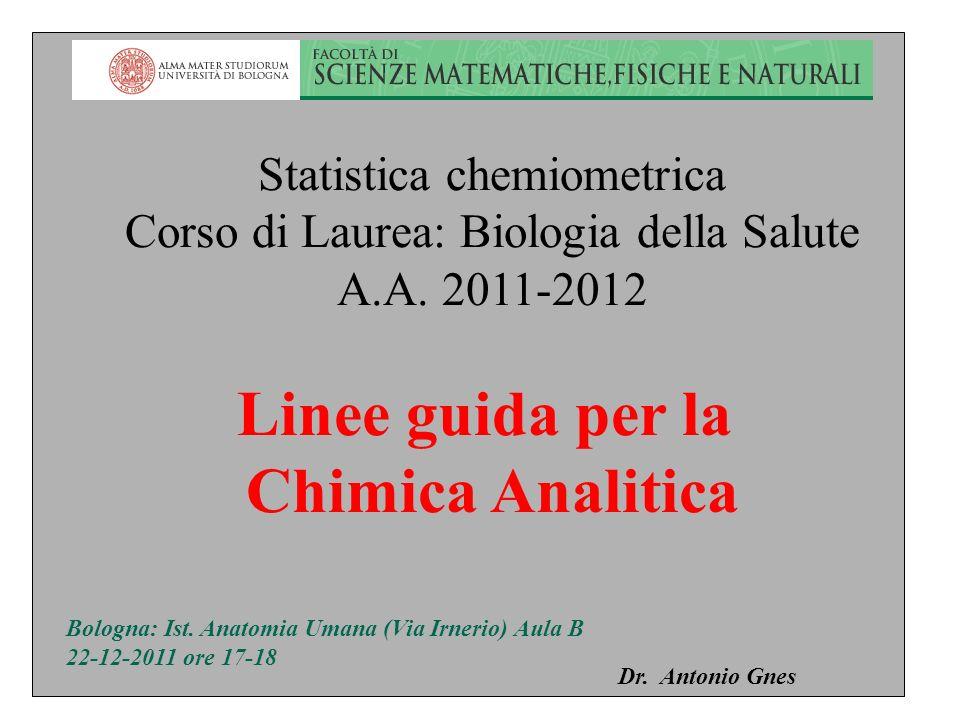 Linee guida per la Chimica Analitica Statistica chemiometrica