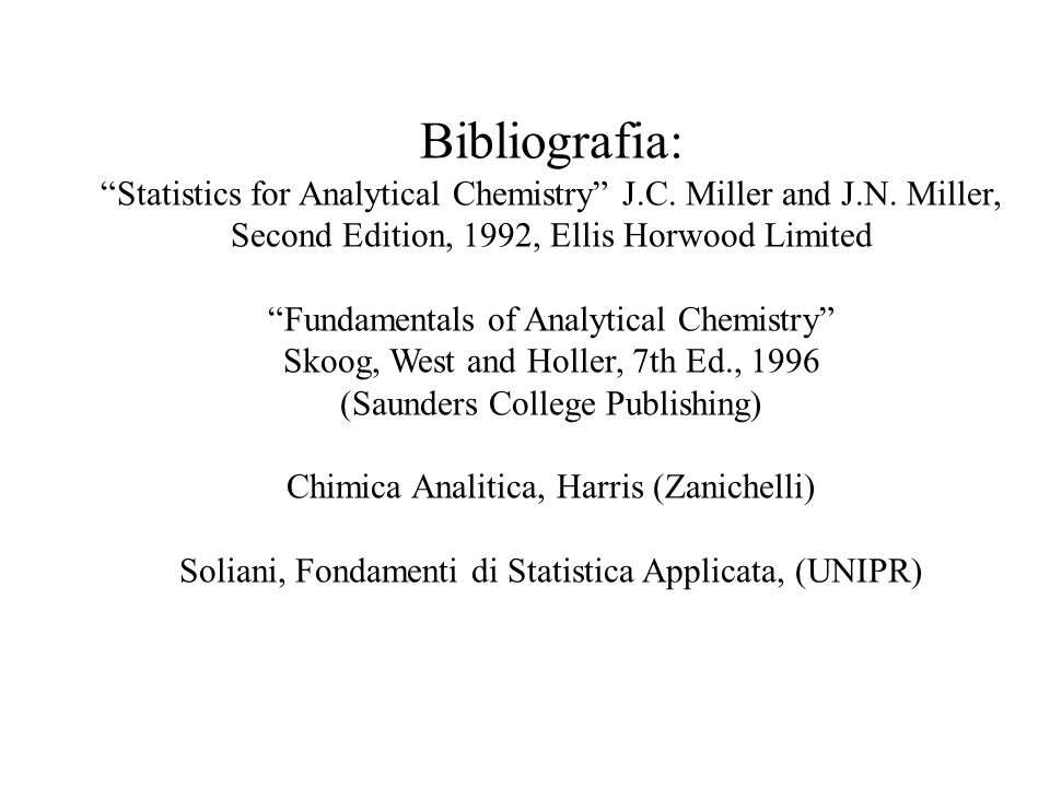 Bibliografia: Statistics for Analytical Chemistry J.C. Miller and J.N. Miller, Second Edition, 1992, Ellis Horwood Limited.
