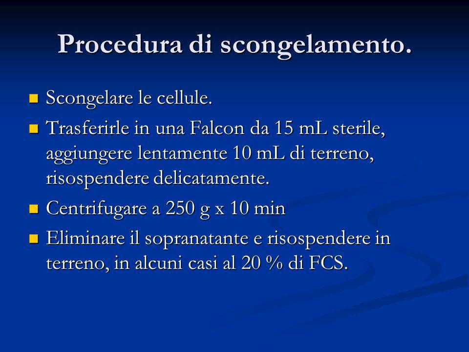 Procedura di scongelamento.