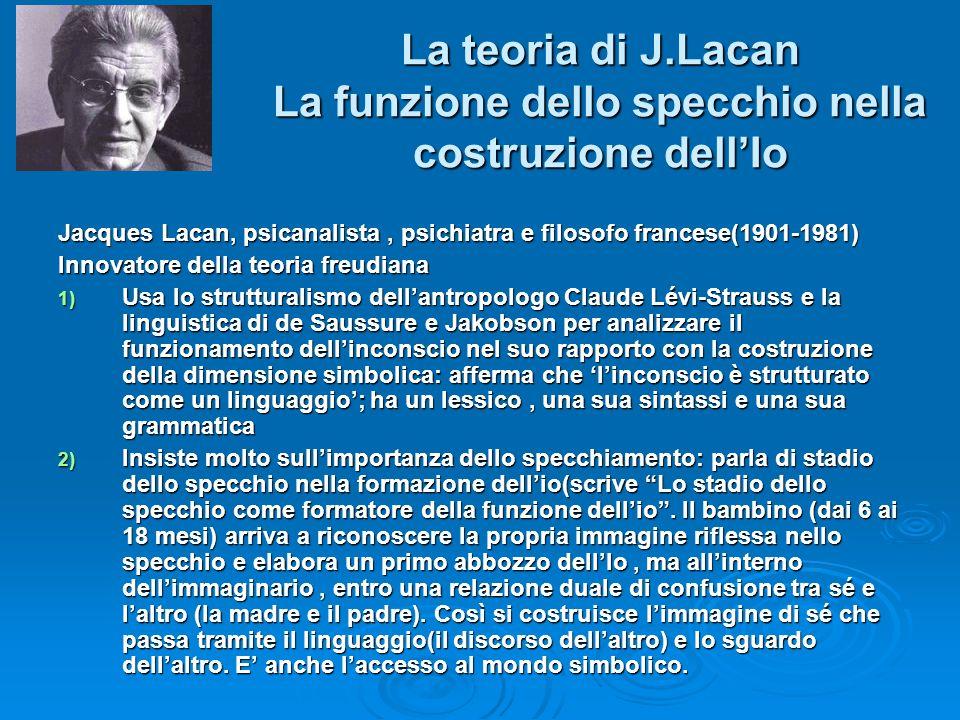 La teoria di J.Lacan La funzione dello specchio nella costruzione dell'Io