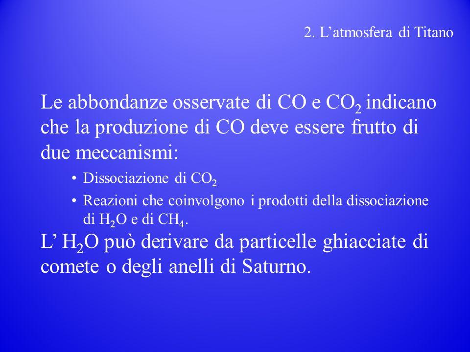 2. L'atmosfera di Titano Le abbondanze osservate di CO e CO2 indicano che la produzione di CO deve essere frutto di due meccanismi: