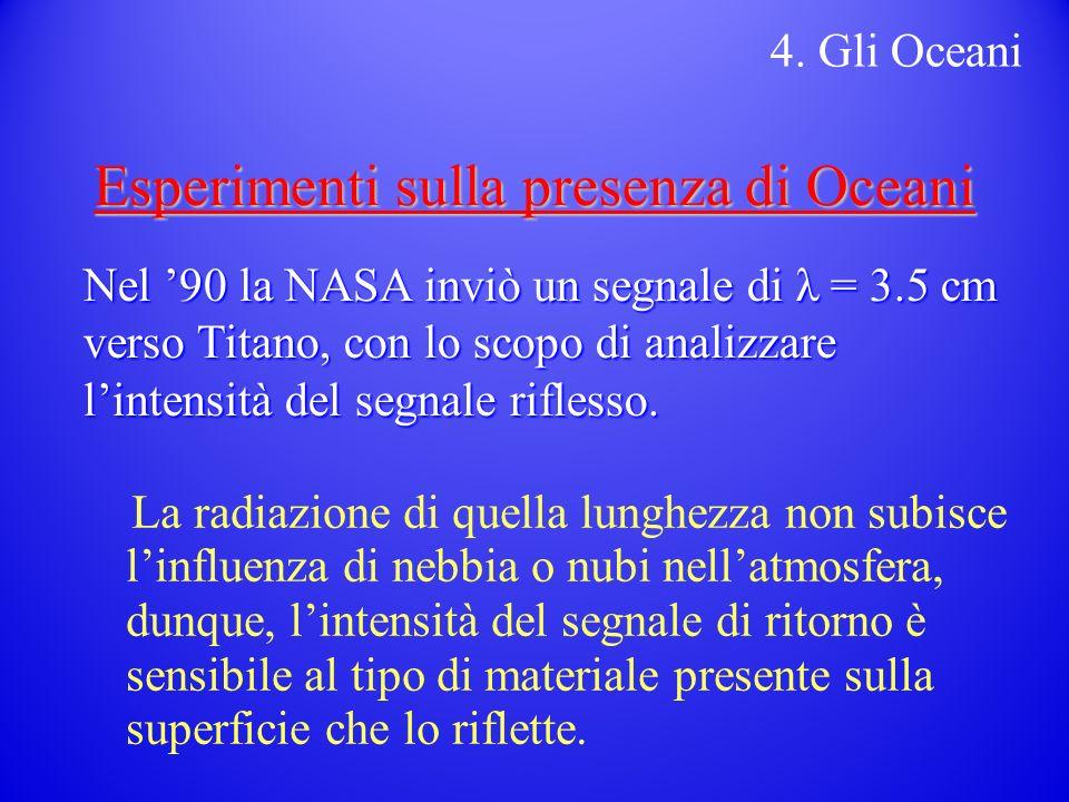 Esperimenti sulla presenza di Oceani