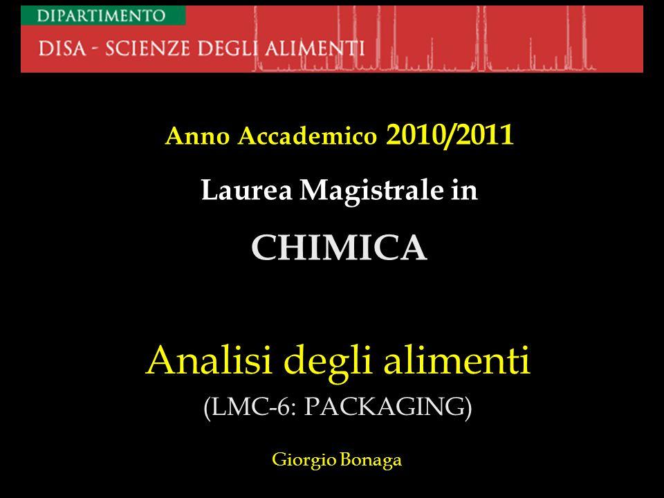 Analisi degli alimenti (LMC-6: PACKAGING) Giorgio Bonaga
