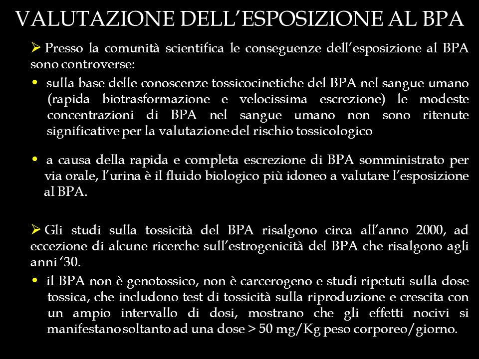 VALUTAZIONE DELL'ESPOSIZIONE AL BPA