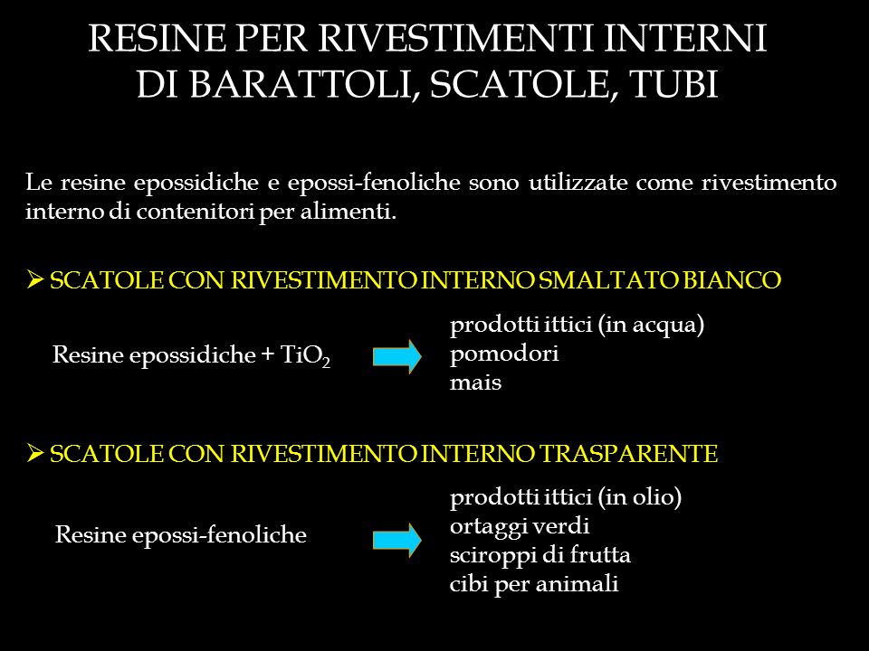 RESINE PER RIVESTIMENTI INTERNI DI BARATTOLI, SCATOLE, TUBI
