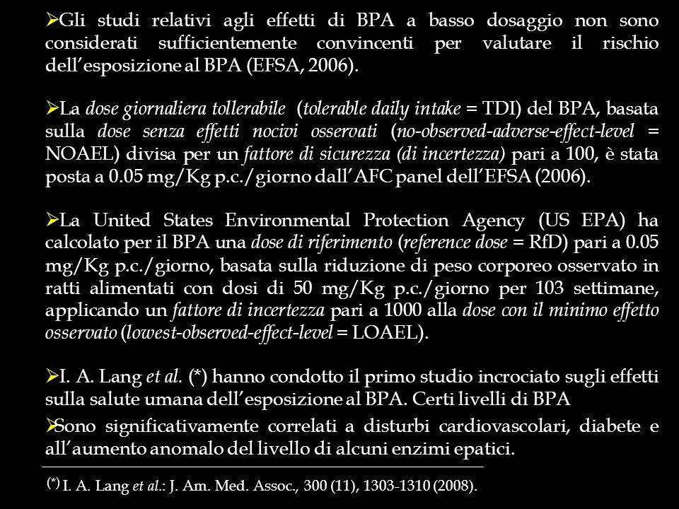 Gli studi relativi agli effetti di BPA a basso dosaggio non sono considerati sufficientemente convincenti per valutare il rischio dell'esposizione al BPA (EFSA, 2006).