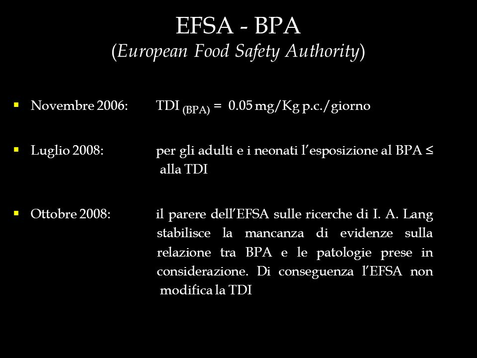 EFSA - BPA (European Food Safety Authority)