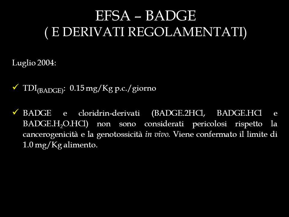 EFSA – BADGE ( E DERIVATI REGOLAMENTATI)