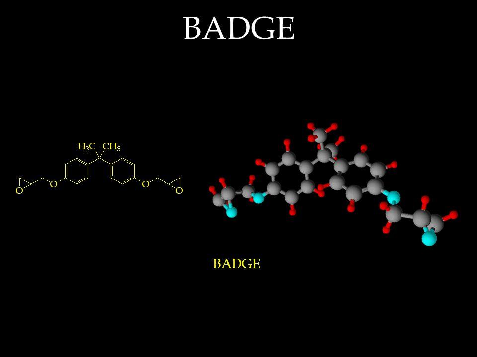 BADGE is an acronym for Bisphenol A diglycidyl ether