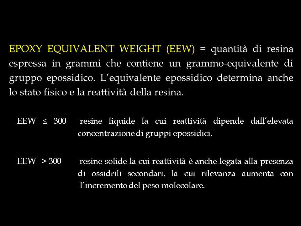 EPOXY EQUIVALENT WEIGHT (EEW) = quantità di resina espressa in grammi che contiene un grammo-equivalente di gruppo epossidico. L'equivalente epossidico determina anche lo stato fisico e la reattività della resina.