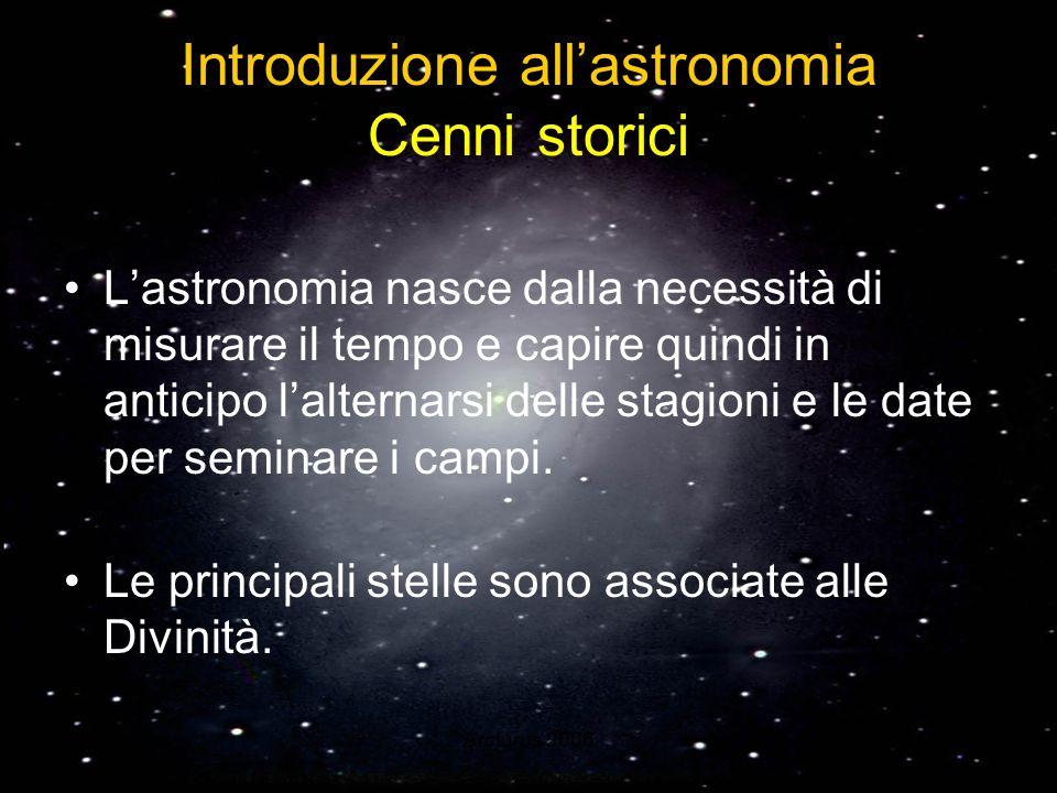 Introduzione all'astronomia Cenni storici