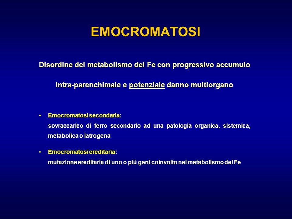 EMOCROMATOSI Disordine del metabolismo del Fe con progressivo accumulo